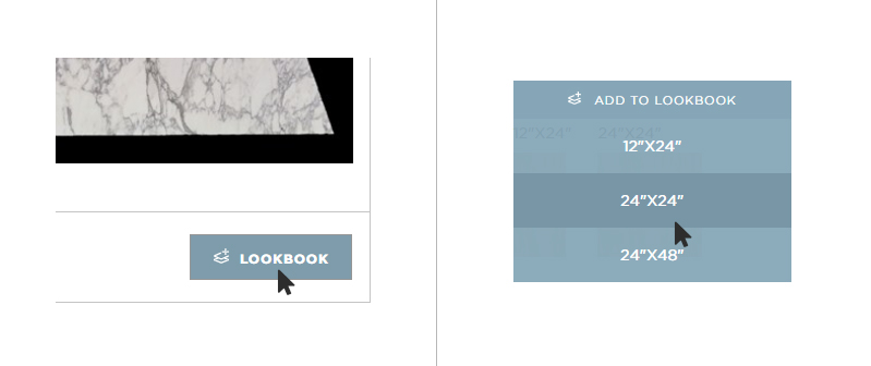 Click the lookbook icon to add